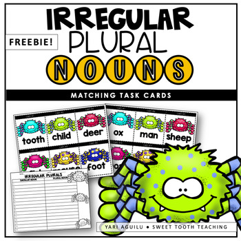 Irregular Plural Nouns Scoot & Matching Game-Spider Themed