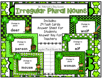 Irregular Plural Nouns Scoot St. Patrick's Day