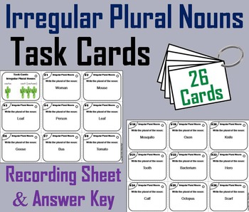 Irregular Plural Nouns Task Cards 2nd 3rd 4th 5th Grade