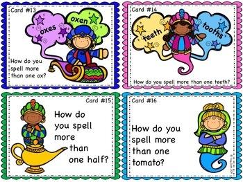 Irregular Plural Nouns - Task Cards to Practice Writing Irregular Plural Nouns