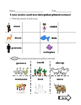 Irregular Plural Nouns Test or Worksheet