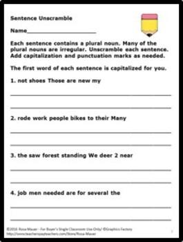 Irregular Plural Nouns Task Cards and Worksheets