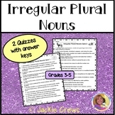 Irregular Plural Nouns Worksheets or Quizzes: Common Core ELA  Grades 3, 4, & 5