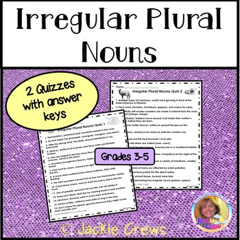 Irregular Plural Nouns Worksheet or Quiz: Common Core ELA