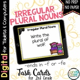 Irregular Plural Noun Task Cards - Ends in F or FE Set - Digital for Google Use