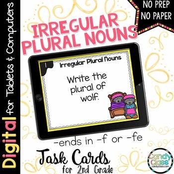 Irregular Plural Noun Task Cards - Ends in F or FE Set - Digital for Google Use
