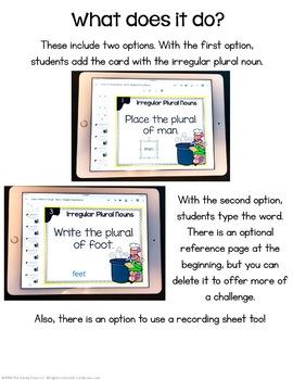 Irregular Plural Noun Digital Task Cards - Paperless Name Changes Set
