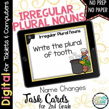 Irregular Plural Noun Task Cards - Name Changes Set - Digital for Google Use