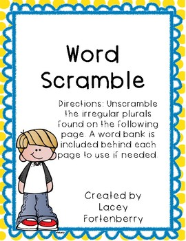 Irregular Plural Word Scramble Freebie!