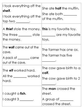 Irregular Plurals Bingo with bonus wordsearch