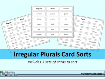 Irregular Plurals Card Sort Activity