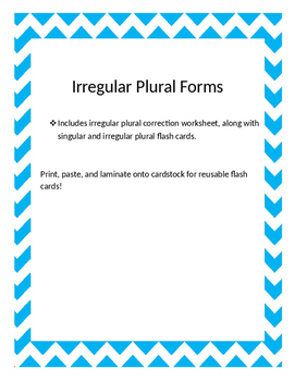 Irregular Plurals Flash Cards