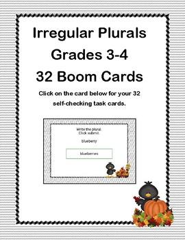 Irregular Plurals-Grades 3-4-32 Boom Cards