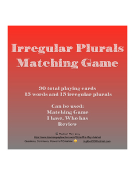 Irregular Plurals Matching Game