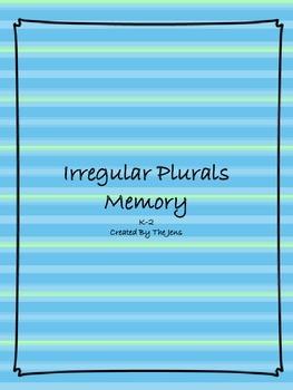 Irregular Plurals Memory K-2 (Bonus*** Irregular Plural Bingo***)
