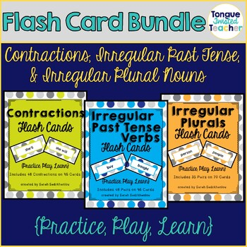 Irregular Plurals, Past Tense Verbs, and Contractions Flash Card Bundle