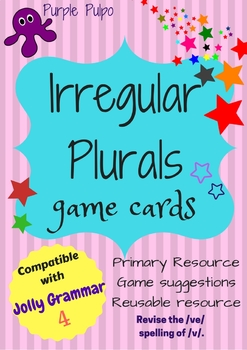 Irregular Plurals Set 1 Game Cards.