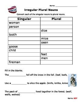 Irregular Plurals Spelling Worksheet