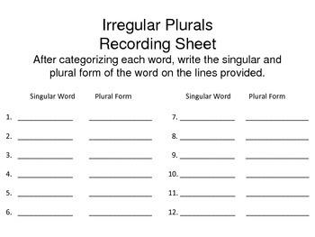 Irregular Plurals Word Sort