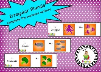 Irregular Plurals complete the sentence activity