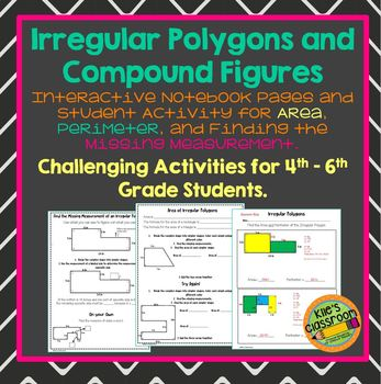 Area of irregular polygons teaching resources teachers pay teachers irregular polygons and compound figures finding the area and perimeter fandeluxe Choice Image