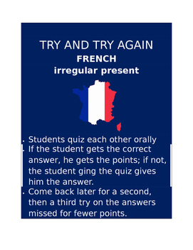 Irregular Present FRENCH Try and Try Again