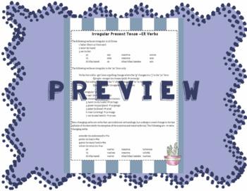 Irregular Present Tense -ER Verbs Cheat Sheet