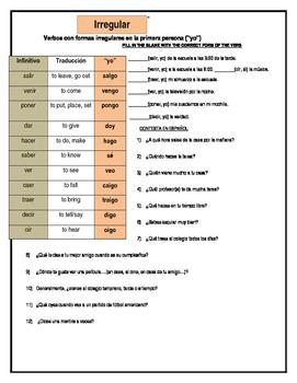 Irregular Present Tense Spanish notes and practice worksheet