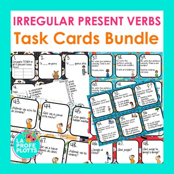Irregular Present Tense Verbs Task Cards Bundle (JUGAR, SE