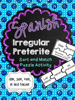 Irregular Preterite Card Sort and Match Puzzle Activity