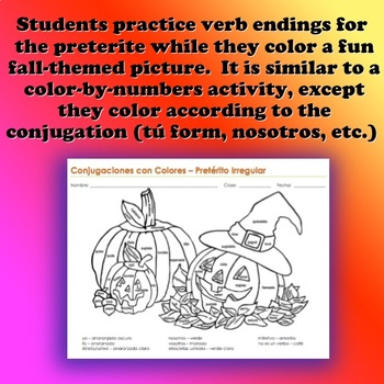 Irregular Preterite Coloring Page Halloween Theme