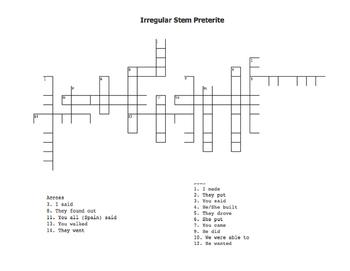 Irregular Preterite Crossword