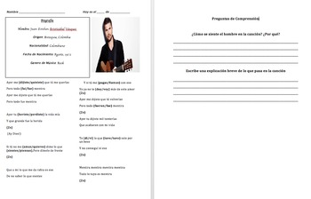 Irregular Preterite: Grammar in Context with Juanes Song and Cloze Activity