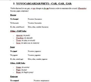 Irregular Spanish Preterite Verb Information Packet (Notes)