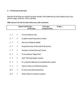 Irregular Preterite Packet - communicative activities, practice, and MC test