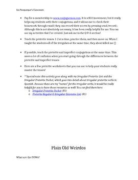Irregular Preterite Practice Activities