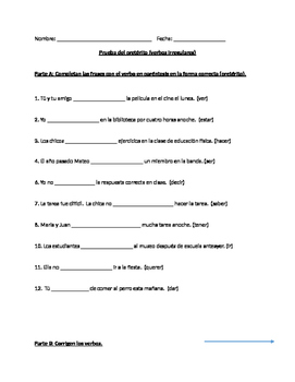 Irregular Preterite Quiz