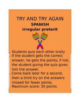 Irregular Preterite SPANISH  Try and Try Again