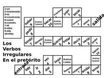 Irregular Preterite Verb Board Game