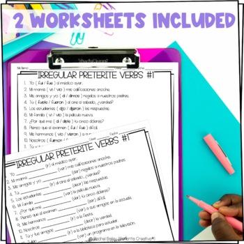 Irregular Preterite Verbs Task Card Activity Set 1 (plus worksheet version!)