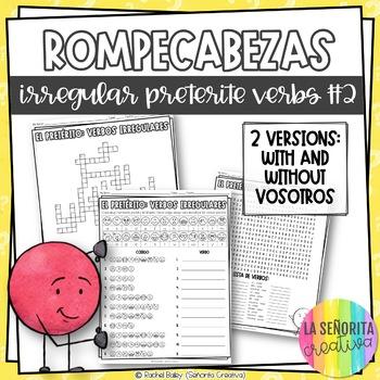 Irregular Preterite Verbs Word Puzzles Set 2 (Wordsearch and Crossword)