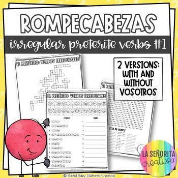 Irregular Preterite Verbs Word Puzzles Set 1 (Wordsearch and Crossword)