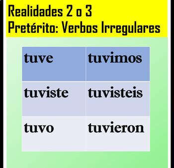 Irregular Preterite Verbs Worksheet for Spanish 2