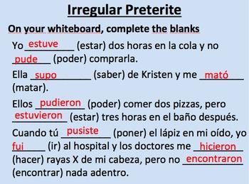 Irregular Preterite Verbs in Spanish--Initial Presentation