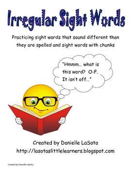 Irregular Sight Words Practice