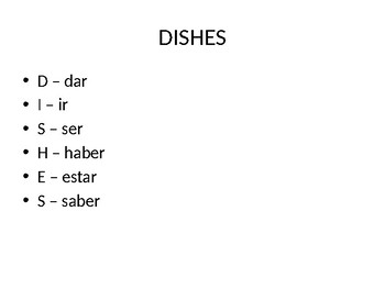 Irregular Subjunctive Verbs in Spanish- DISHES