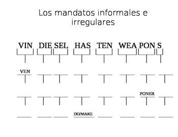 Spanish Irregular Tú Commands (Vin Diesel Has Ten Weapons)
