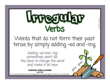 Irregular Verb Activity (Common Core Aligned L.2.1.D)