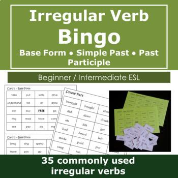 Irregular Verb Bingo -- Base Form, Simple Past, Past Participle