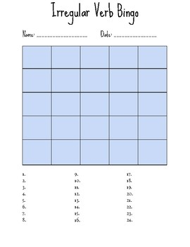 Irregular Verb Bingo & Quiz